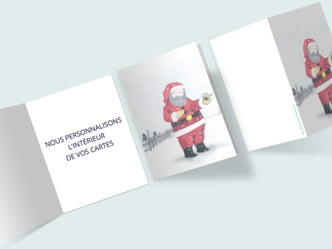 Carte Noël - Père Noël et Rouge-Gorge