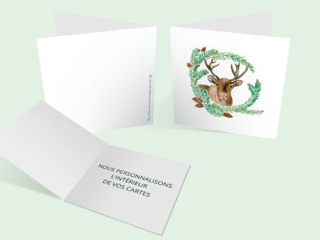 Carte Noël - Renne et Couronne