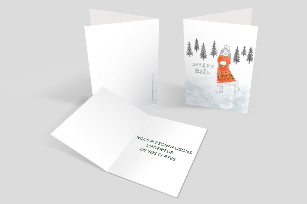 Carte Noël - Mère Noël patine
