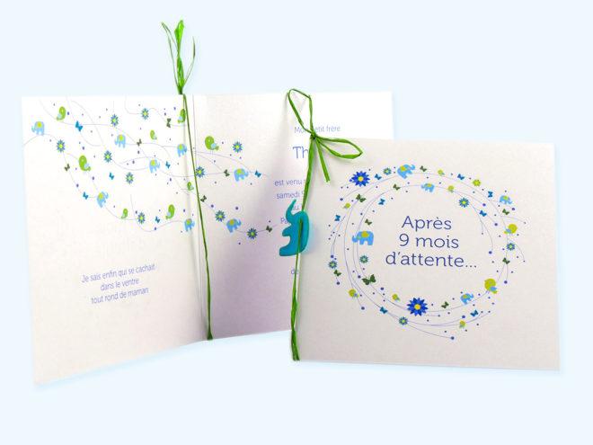 Carte Naissance - Éléphants et Fleurs