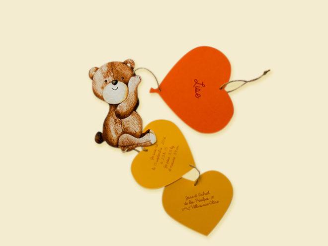 Carte Naissance - Ours et Coeurs