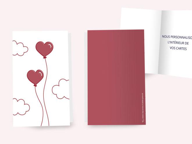 Carte Mariage - Ballons en Coeur