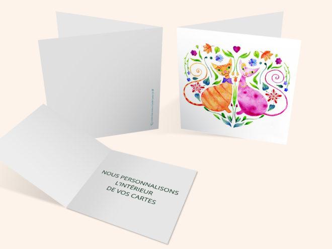 Carte Mariage - Chats de Coeur