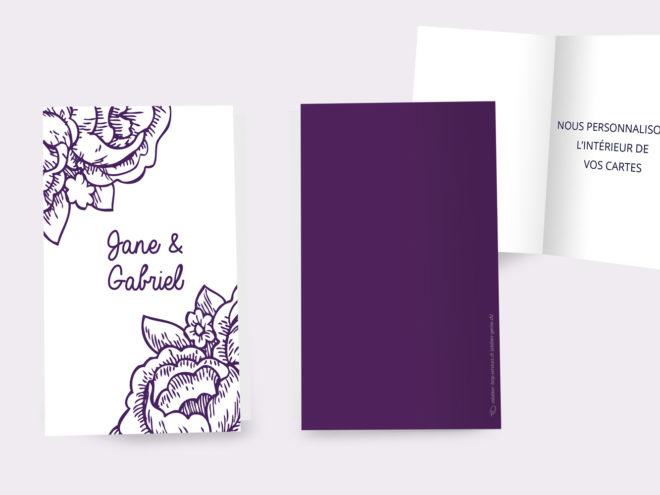 Carte Mariage - Gravure de Fleurs
