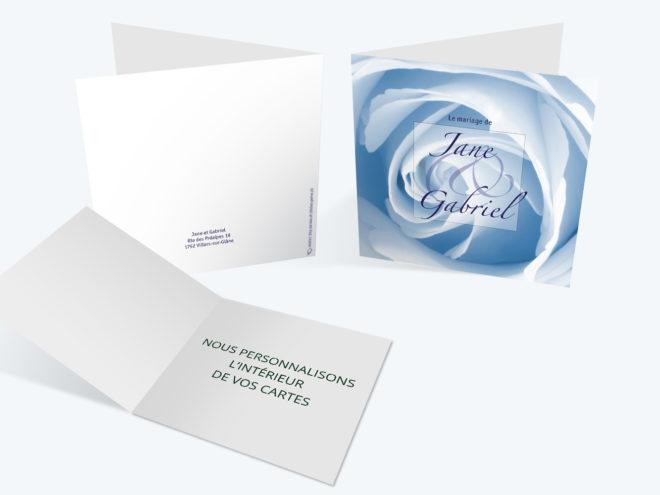 Carte Mariage - Rose Bleue