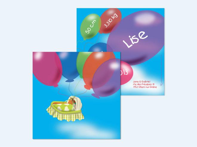 Carte Naissance - Ballons