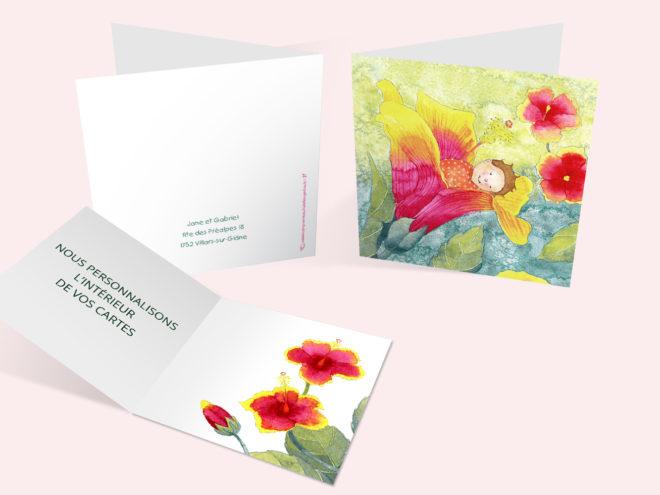 Carte Naissance - Hibiscus