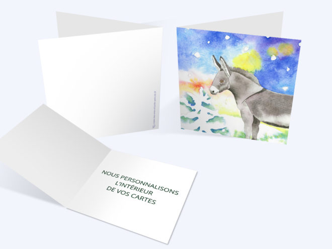 Carte Noël - Âne