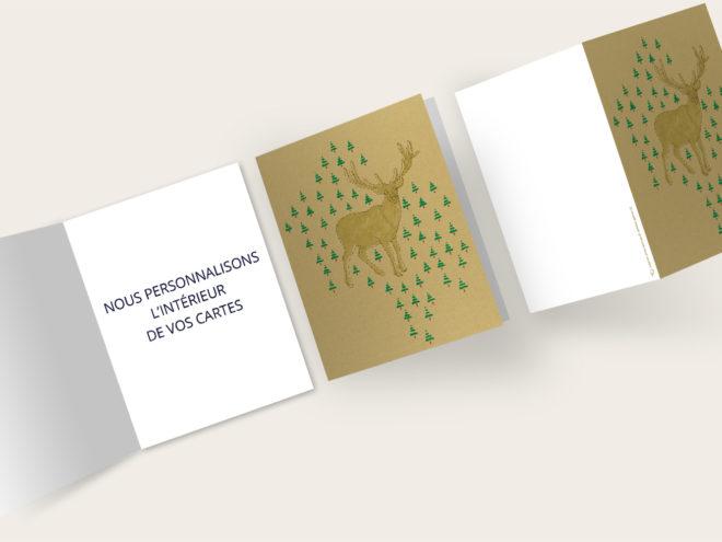 Carte Noël - Cerf et Sapin