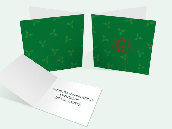 Carte Noël - Houx Vert