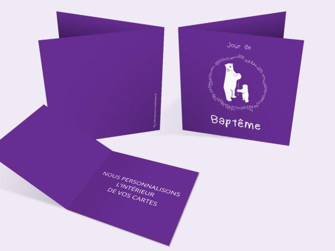 Carte Baptême - Ours