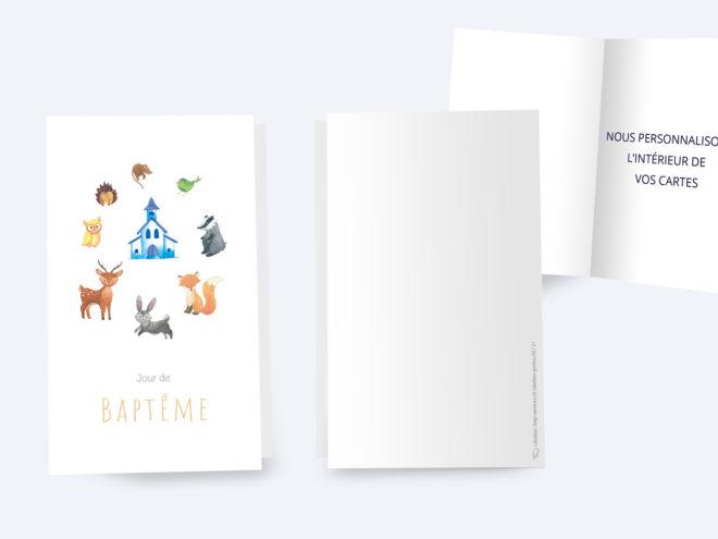Carte Baptême - Animaux, Église